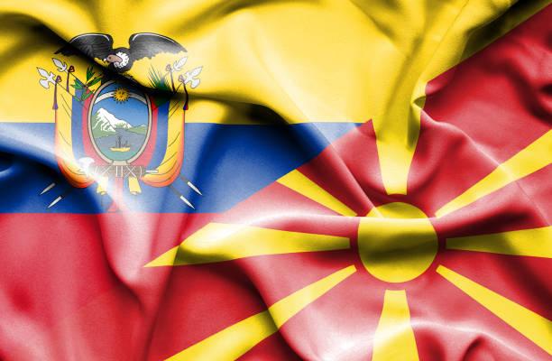 Waving flag of Macedonia and Ecuador vector art illustration