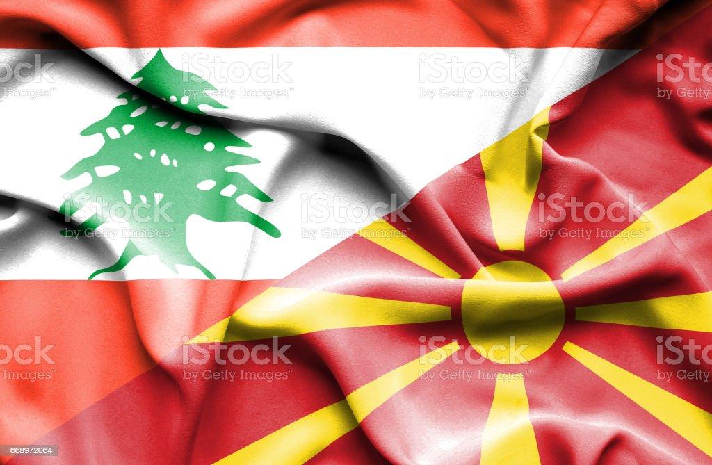 Waving flag of Macedonia and Lebanon waving flag of macedonia and lebanon - immagini vettoriali stock e altre immagini di accordo d'intesa royalty-free