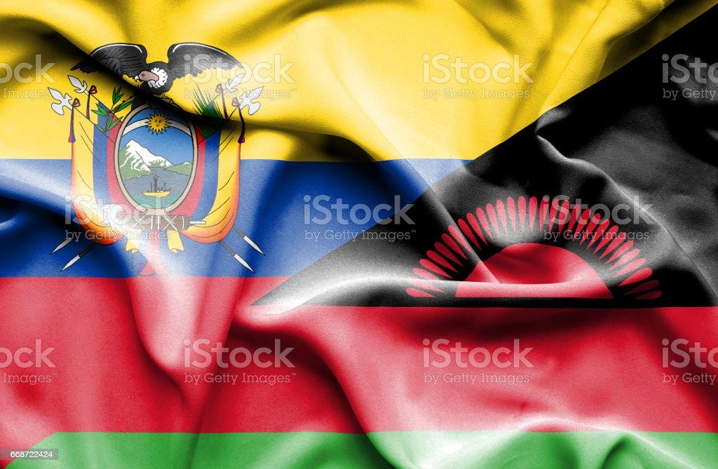 Waving flag of Malawi and Ecuador - Illustration vectorielle