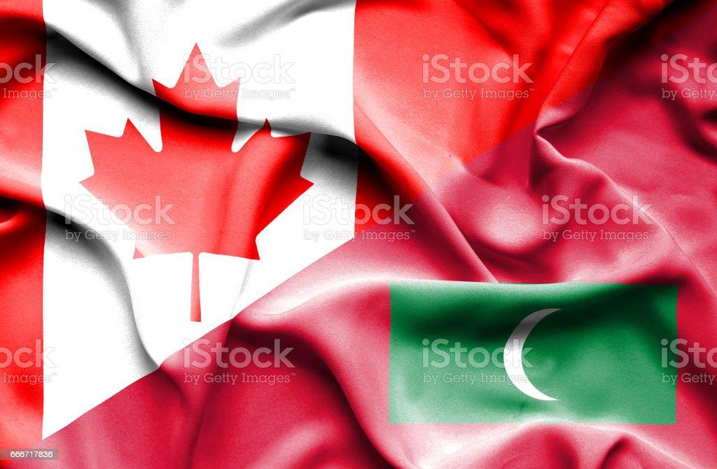 Waving flag of Maldives and Canada