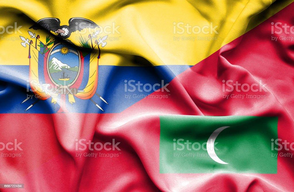 Agitant le drapeau des Maldives et de l'Équateur - Illustration vectorielle