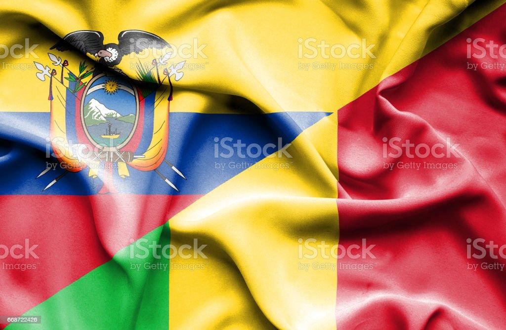 Waving flag of Mali and Ecuador - Illustration vectorielle