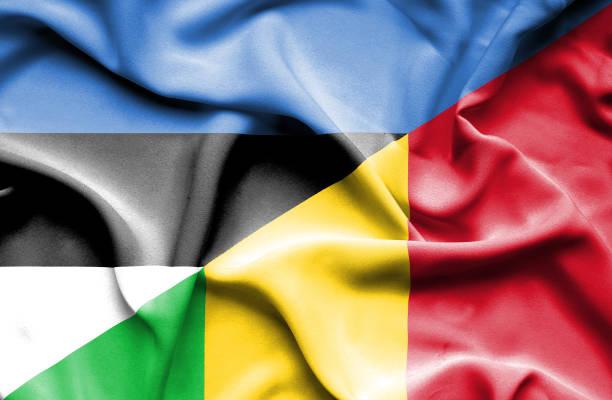 Waving flag of Mali and Estonia vector art illustration