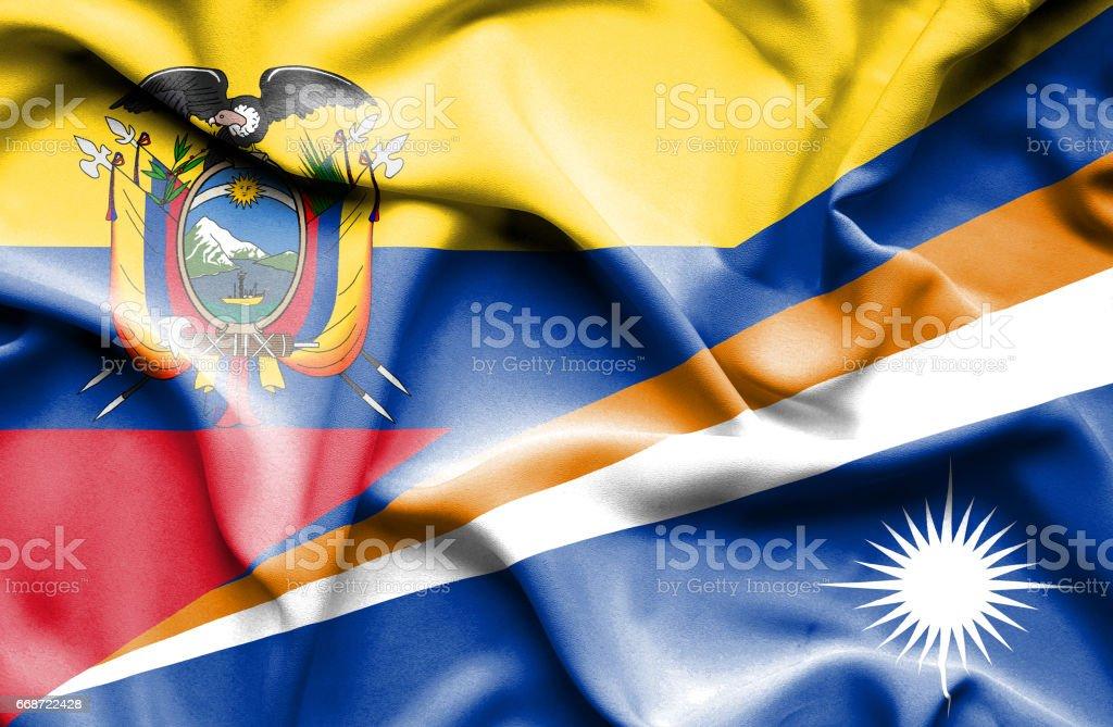 Waving flag of Marshall Islands and Ecuador - Illustration vectorielle