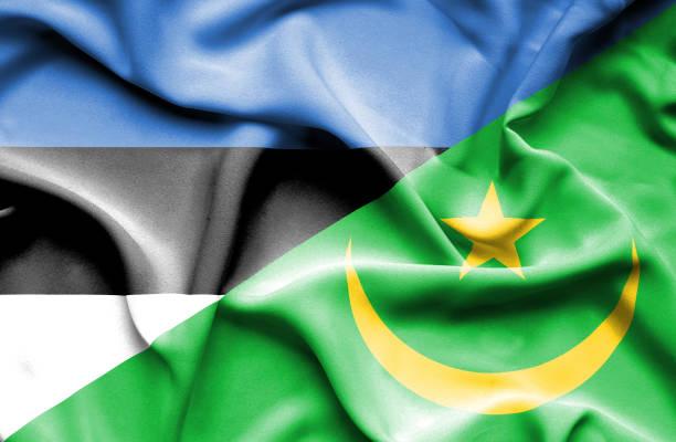 Waving flag of Mauritania and Estonia vector art illustration