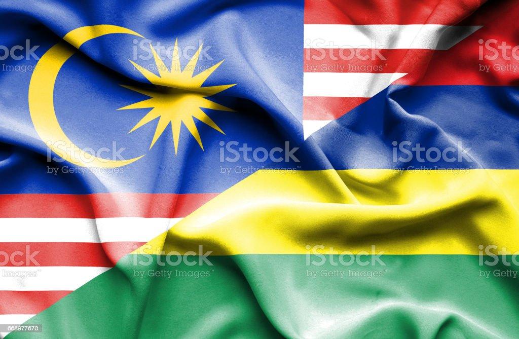 Waving flag of Mauritius and Malaysia waving flag of mauritius and malaysia - immagini vettoriali stock e altre immagini di accordo d'intesa royalty-free
