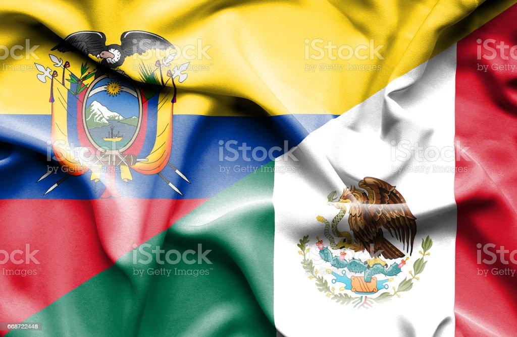 Waving flag of Mexico and Ecuador - Illustration vectorielle