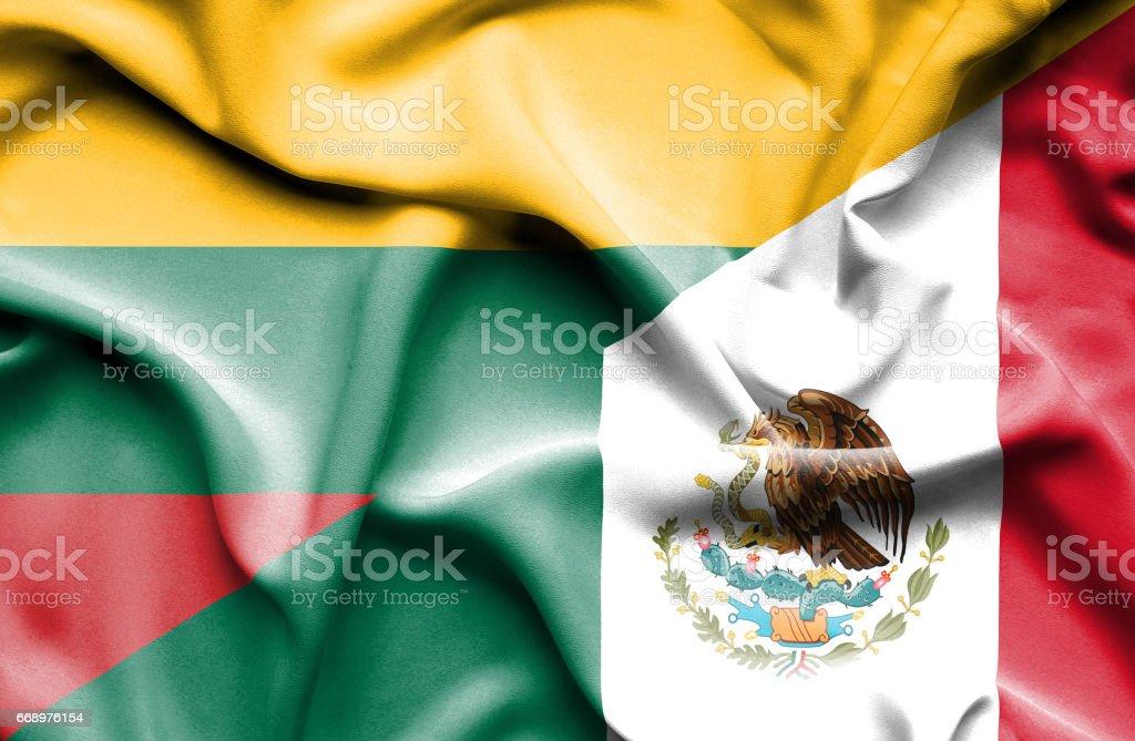 Waving flag of Mexico and Lithuania waving flag of mexico and lithuania - immagini vettoriali stock e altre immagini di accordo d'intesa royalty-free