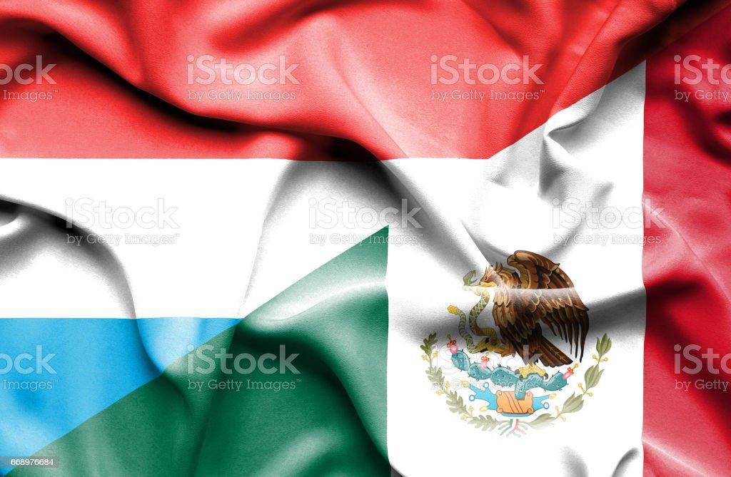 Waving flag of Mexico and Luxembourg waving flag of mexico and luxembourg - immagini vettoriali stock e altre immagini di accordo d'intesa royalty-free