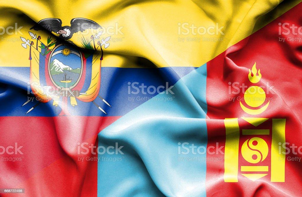 Waving flag of Mongolia and Ecuador - Illustration vectorielle
