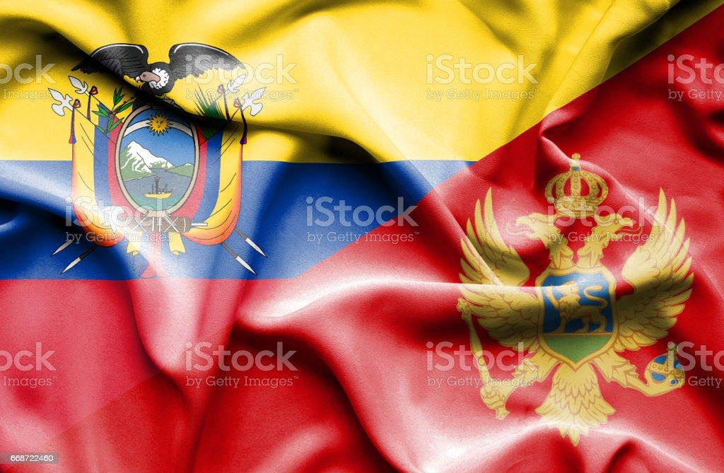 Waving flag of Montenegro and Ecuador - Illustration vectorielle