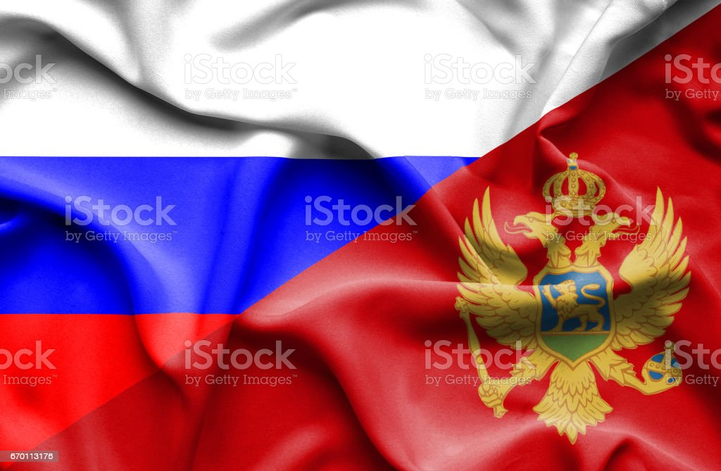 Waving flag of Montenegro and Russia vector art illustration