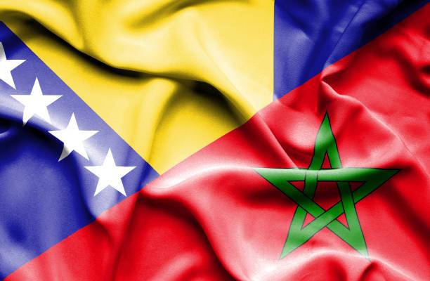 Waving flag of Morocco and Bosnia and Herzegovina vector art illustration