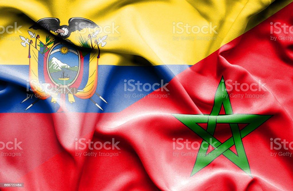 Waving flag of Morocco and Ecuador - Illustration vectorielle