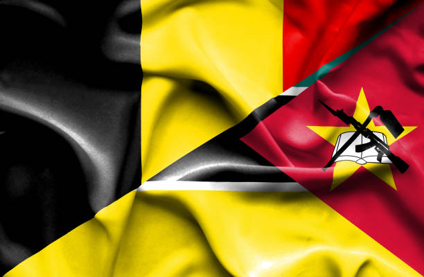 Waving flag of Mozambique and Belgium vector art illustration