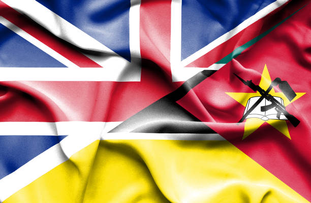 Waving flag of Mozambique and Great Britain vector art illustration