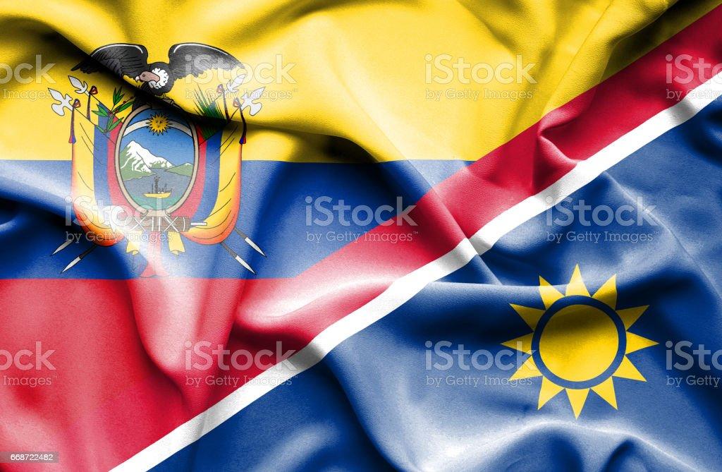 Waving flag of Namibia and Ecuador - Illustration vectorielle