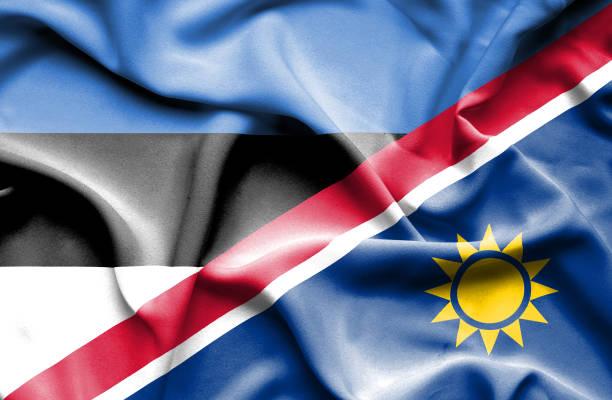 Waving flag of Namibia and Estonia vector art illustration