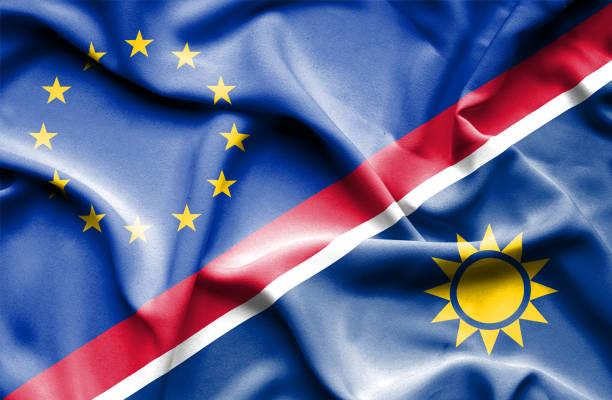 Waving flag of Namibia and EU vector art illustration