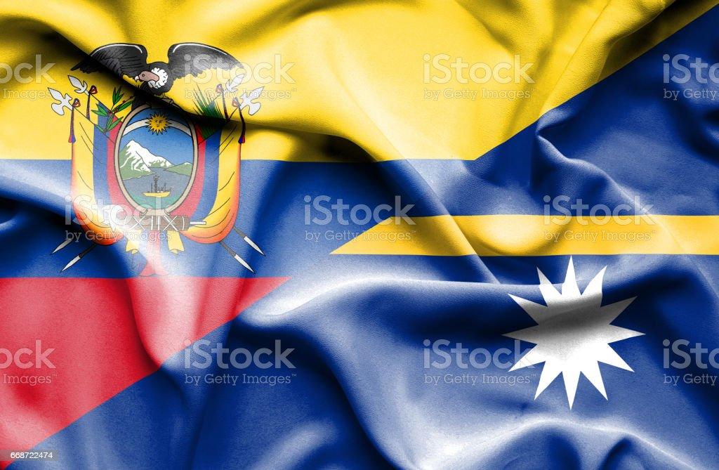 Agitant le drapeau de Nauru et l'Équateur - Illustration vectorielle