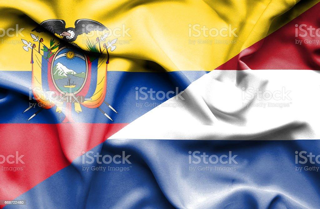 Waving flag of Netherlands and Ecuador - Illustration vectorielle