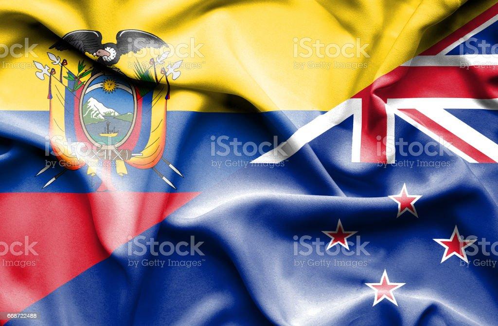 Waving flag of New Zealand and Ecuador - Illustration vectorielle