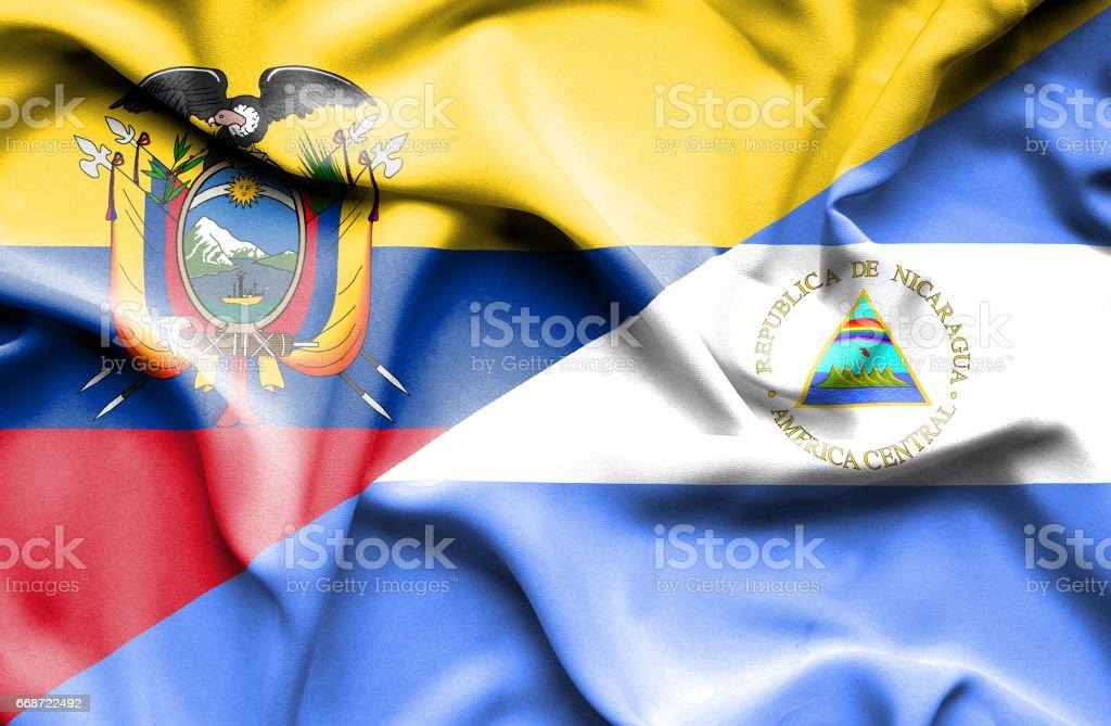 Agitant le drapeau du Nicaragua et l'Equateur - Illustration vectorielle