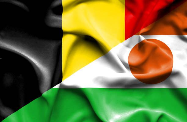 Waving flag of Niger and Belgium vector art illustration