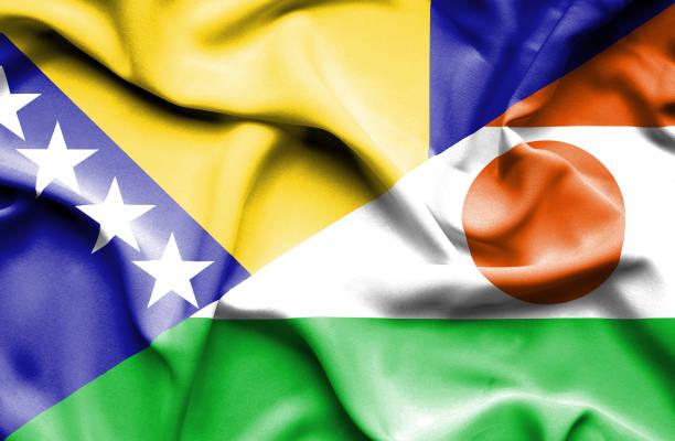 Waving flag of Niger and Bosnia and Herzegovina vector art illustration