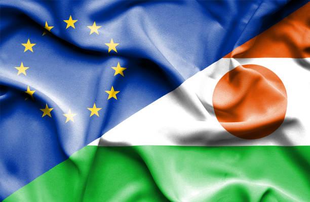 Waving flag of Niger and EU vector art illustration