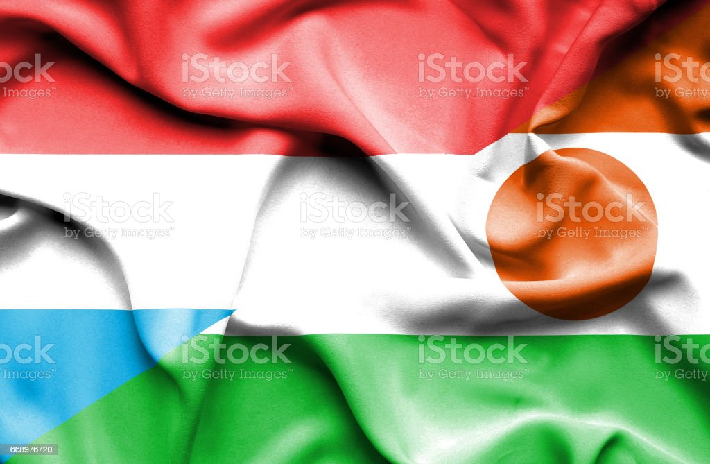 Waving flag of Niger and Luxembourg waving flag of niger and luxembourg - immagini vettoriali stock e altre immagini di accordo d'intesa royalty-free
