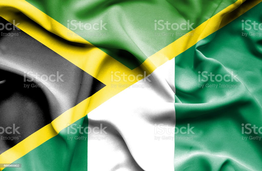 Waving flag of Nigeria and Jamaica waving flag of nigeria and jamaica - immagini vettoriali stock e altre immagini di accordo d'intesa royalty-free