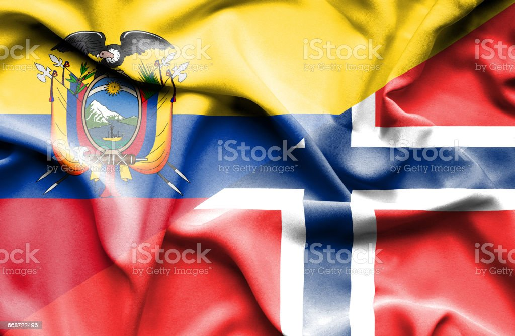 Waving flag of Norway and Ecuador - Illustration vectorielle