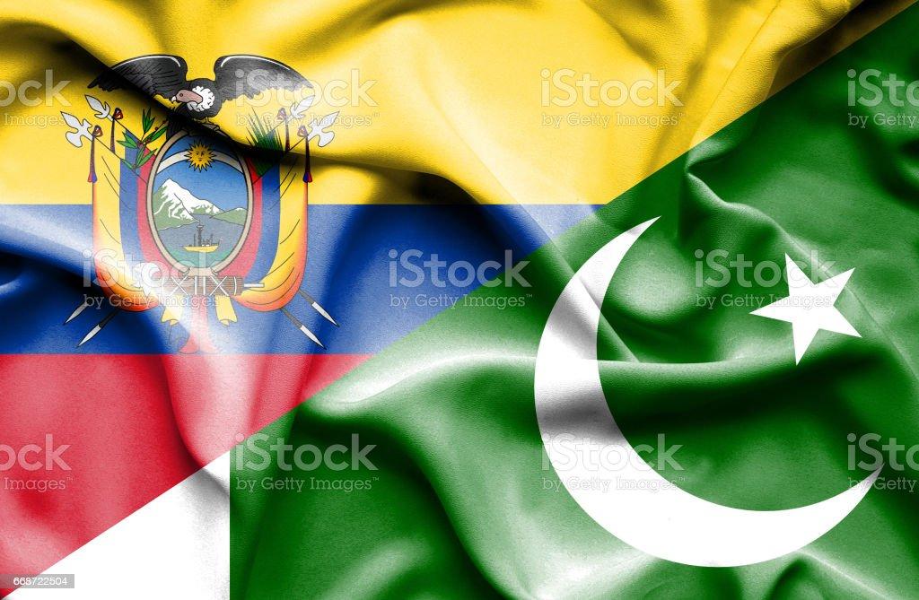 Agitant le drapeau du Pakistan et de l'Équateur - Illustration vectorielle