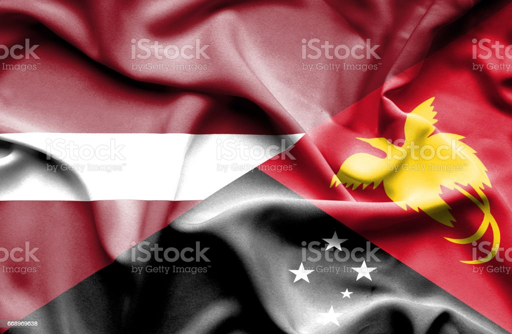 Waving flag of Papua New Guinea and Latvia waving flag of papua new guinea and latvia - immagini vettoriali stock e altre immagini di accordo d'intesa royalty-free
