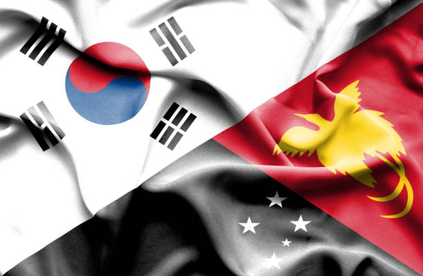 waving flag of papua new guinea and south korea - 韓国の国旗点のイラスト素材/クリップアート素材/マンガ素材/アイコン素材