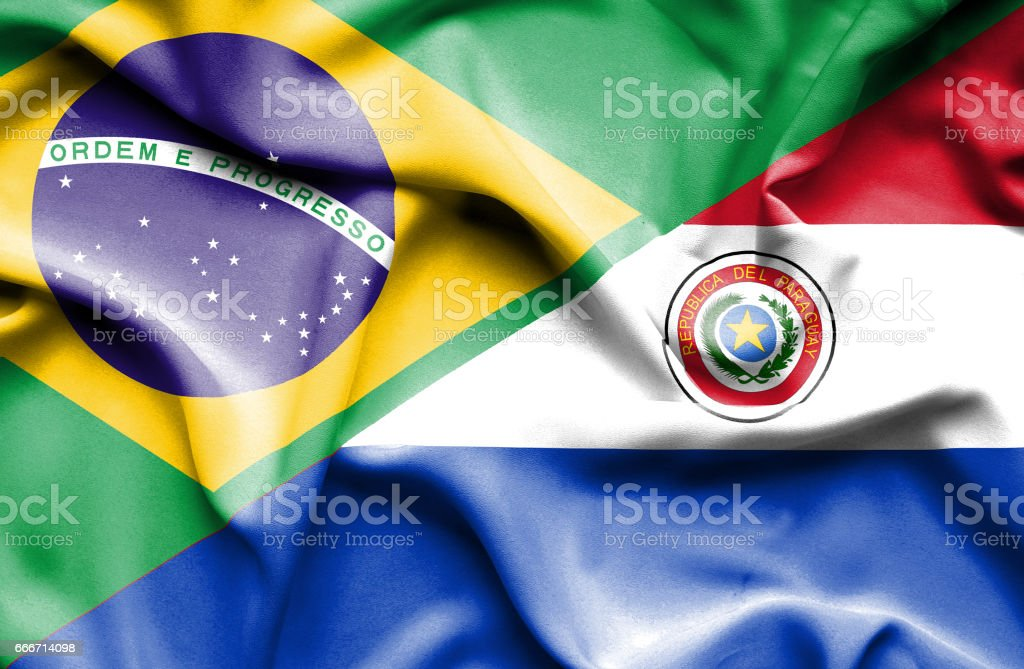 Waving flag of Paraguay and Brazil - ilustración de arte vectorial