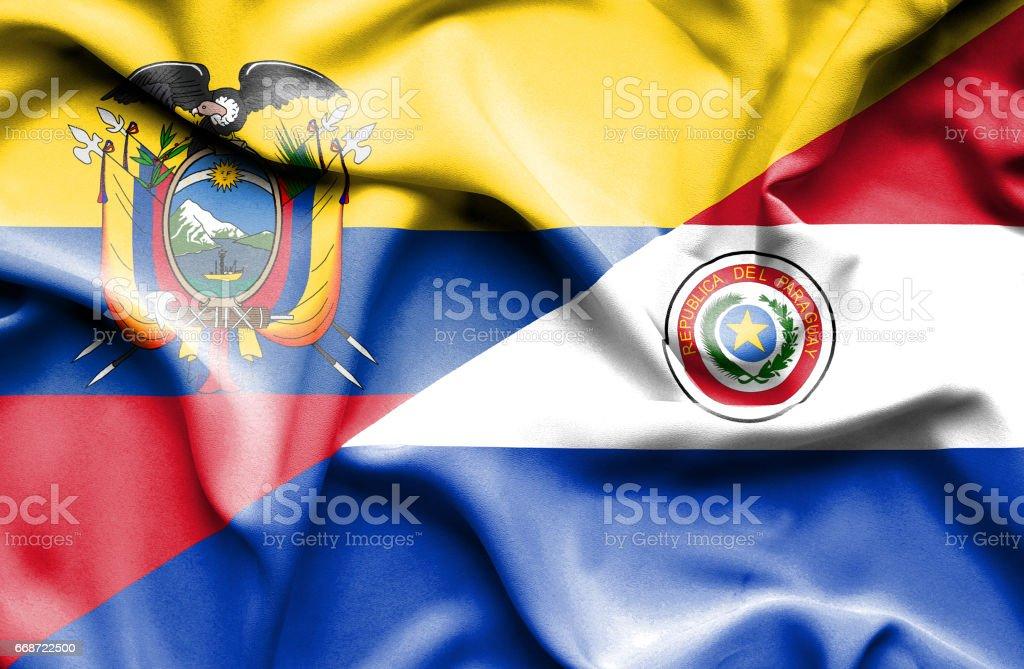Agitant le drapeau du Paraguay et de l'Équateur - Illustration vectorielle