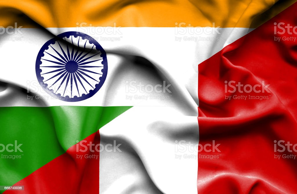 Waving flag of Peru and India vector art illustration