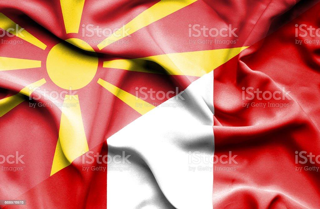 Waving flag of Peru and Macedonia waving flag of peru and macedonia - immagini vettoriali stock e altre immagini di accordo d'intesa royalty-free