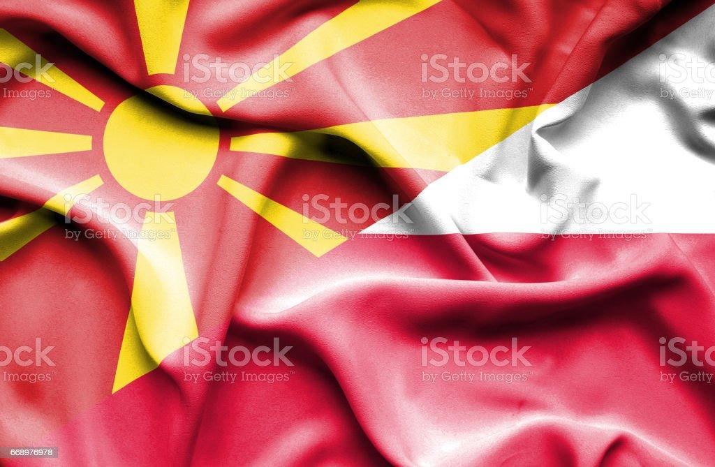 Waving flag of Poland and Macedonia waving flag of poland and macedonia - immagini vettoriali stock e altre immagini di accordo d'intesa royalty-free