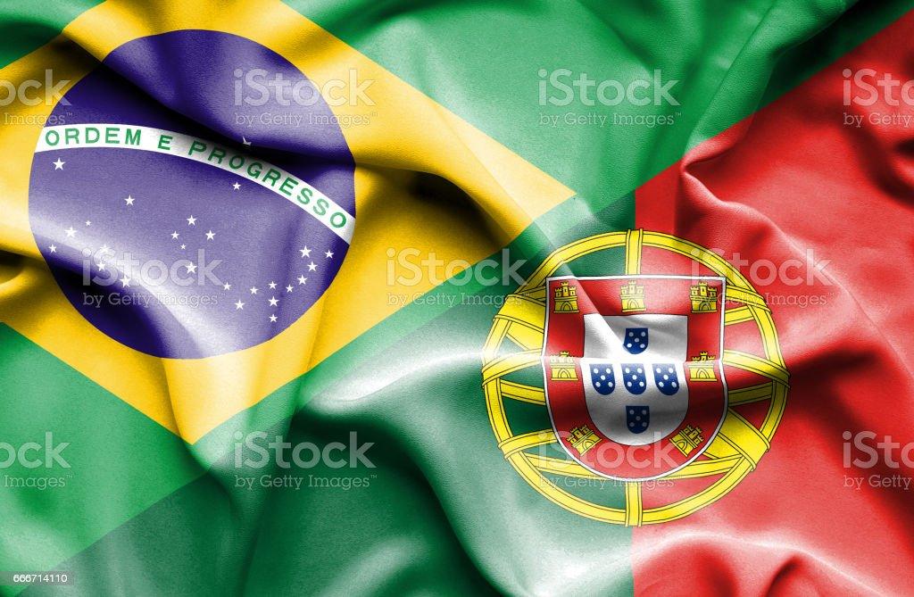 Waving flag of Portugal and Brazil - ilustração de arte vetorial