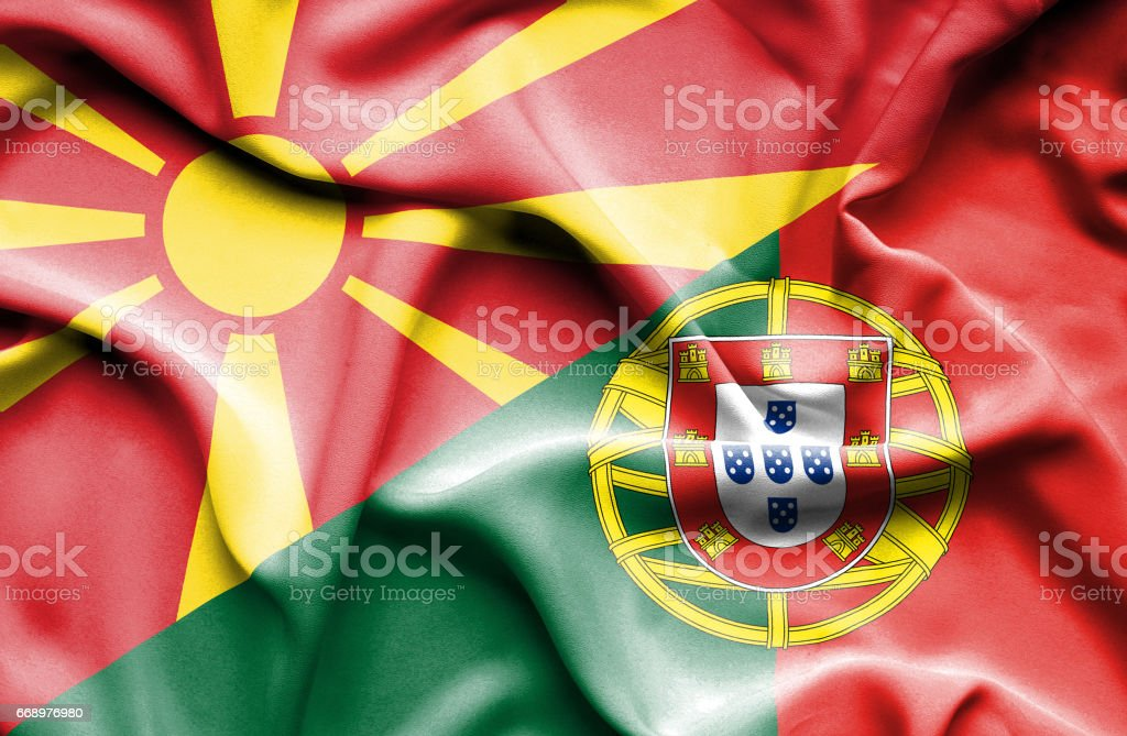 Waving flag of Portugal and Macedonia waving flag of portugal and macedonia - immagini vettoriali stock e altre immagini di accordo d'intesa royalty-free