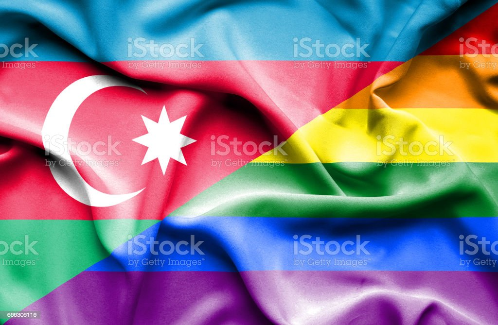 Waving flag of Pride and Azerbaijan vector art illustration
