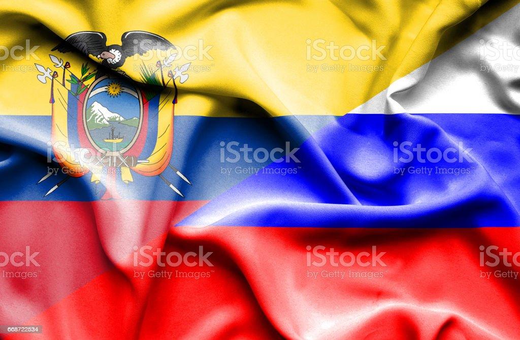 Waving flag of Russia and Ecuador - Illustration vectorielle