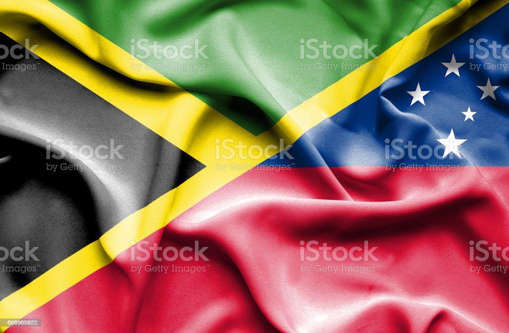 Waving flag of Samoa and Jamaica waving flag of samoa and jamaica - immagini vettoriali stock e altre immagini di accordo d'intesa royalty-free