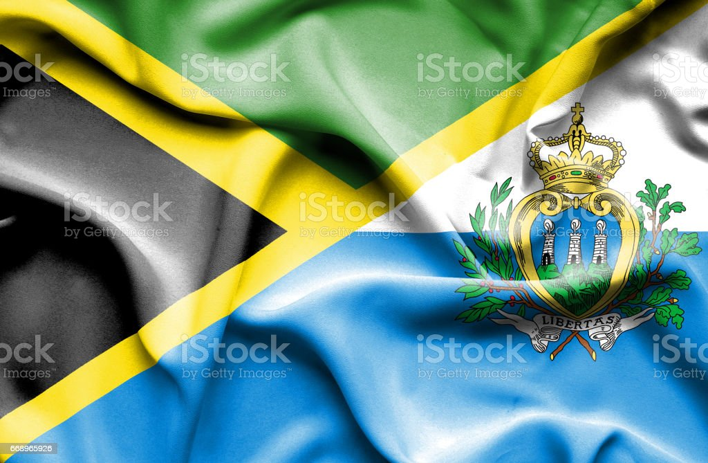Waving flag of San Marino and Jamaica waving flag of san marino and jamaica - immagini vettoriali stock e altre immagini di accordo d'intesa royalty-free