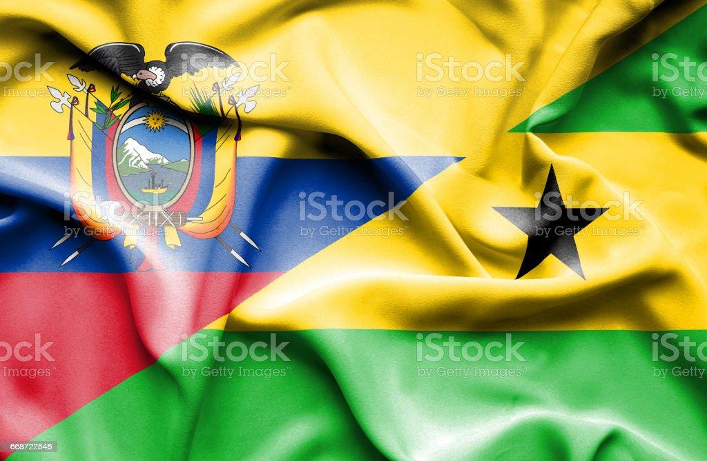 Waving flag of Sao Tome and Principe and Ecuador - Illustration vectorielle