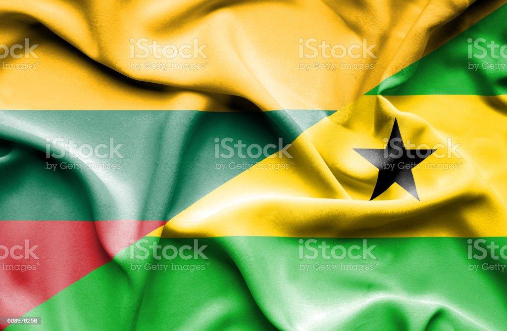 Waving flag of Sao Tome and Principe and Lithuania waving flag of sao tome and principe and lithuania - immagini vettoriali stock e altre immagini di accordo d'intesa royalty-free