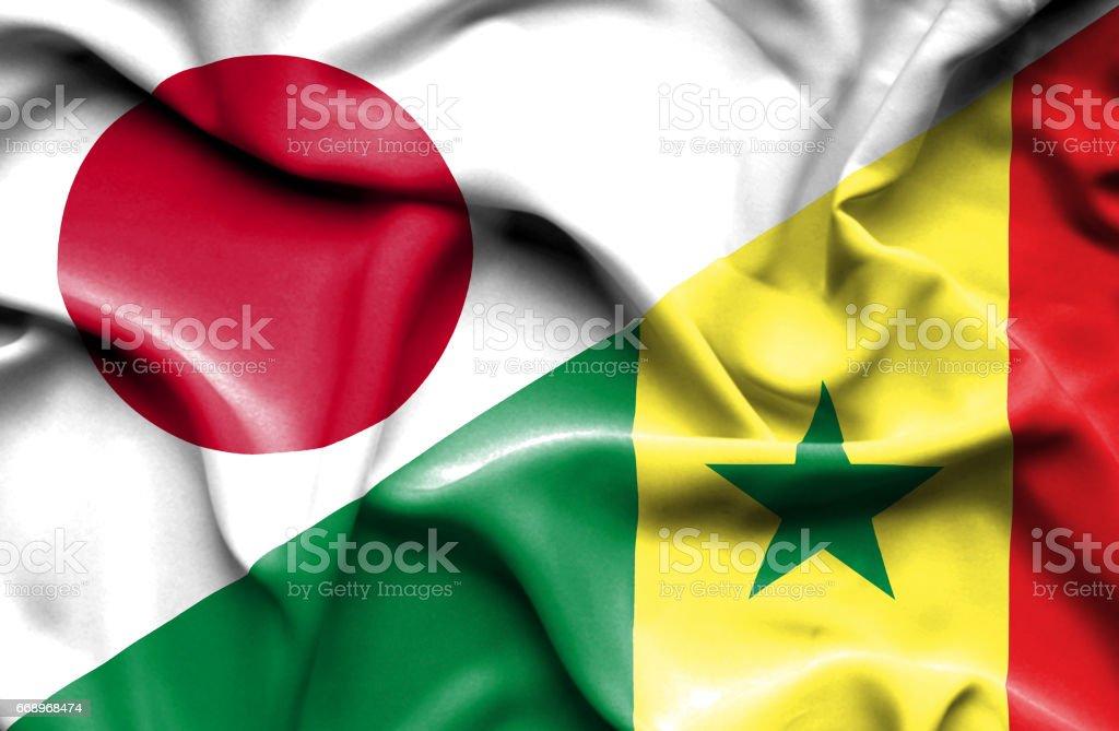 Waving flag of Senegal and Japan waving flag of senegal and japan - immagini vettoriali stock e altre immagini di accordo d'intesa royalty-free